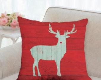 Red Christmas Reindeer Pillow