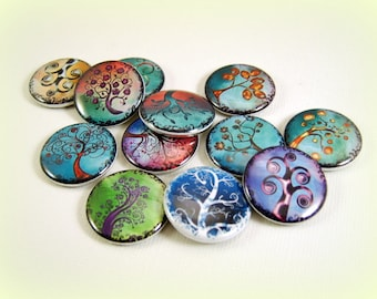Whimsical Curly Trees Flatback Buttons, Pins, Magnets 12 Ct.