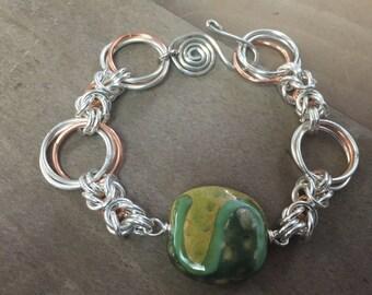 Sterling Silver and Copper Byzantine Link Bracelet
