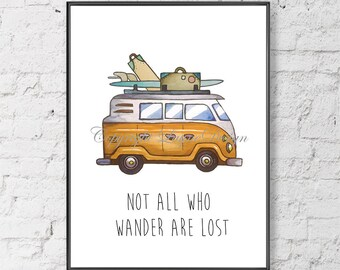 VW Bus Travel Wander Journey Saying Quote Print Your Own Instant Download Art Print  Wall Art Typography Poster Home Decor