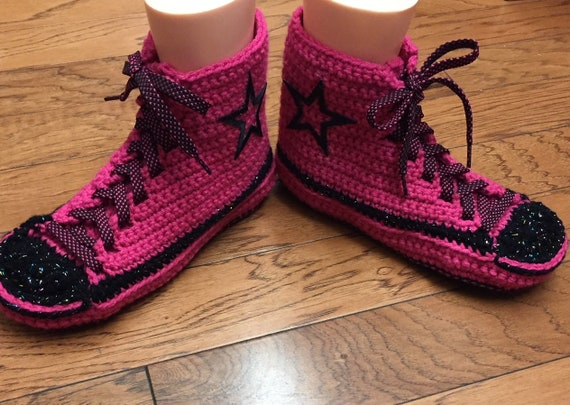 tennis slippers high converse pink shoes Converse crocheted converse 9 top 11 tennis shoes sneaker crochet slippers converse inspired Womens tY1xCqwF