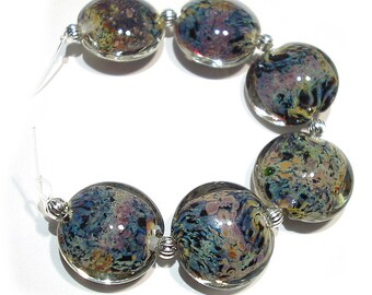 Handmade Glass Lampwork Beads, Blue Brights Lentils