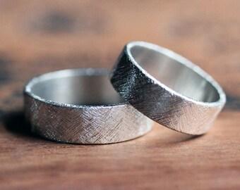 Modern wedding ring, rustic wedding ring set, silver wedding band set, silver wedding rings, his and his, his and hers, hers and hers custom