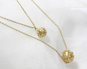Filigree Gold Ball pendant double layers chain Necklace - S2282-1