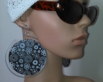 Beautiful Floral Embellished Hoop  Wooden and Wire Earrings, Dangling Earrings, Large Earrings, Womens Earrings, Jewelry, Hoop Earrings