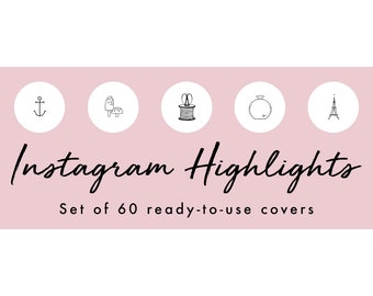 Instagram Story Highlight Icons - 60 White Hand Drawn Covers | Fashion, Beauty, Lifestyle, Decor, Craft, Handmade, Bloggers, Influencers