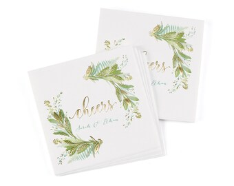 Greenery Beverage Napkins, Personalized 3 Ply Paper Cocktail Napkins, Botanical Swag Watercolor Design, Shiny Metallic Gold Foil Details