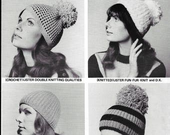 knitting pattern, 4 hats, knitted hat, crochet hat pattern, 1960 knitting pattern, original pattern Not PDF