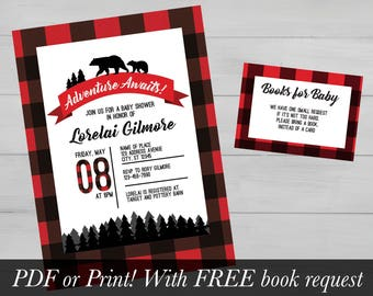 Adventure Awaits Flannel Outdoor Baby Shower Invitation