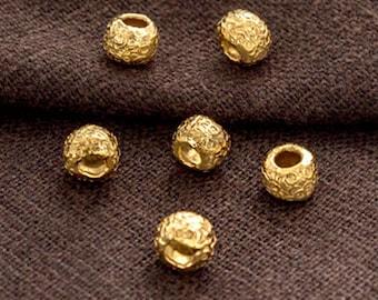 6 of 925 Karen Hill Tribe 24k Vermeil Style Textured Rondelle Beads  6x4.5mm.  :vm1218