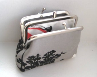 Gray, Black and White Two-Compartment Coin Purse