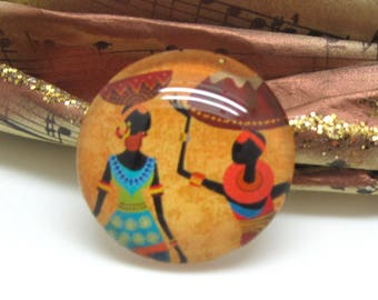 1 cabochon 25 mm glass 2-25 mm African style