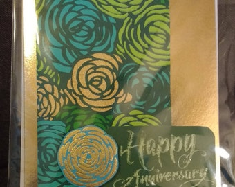 Gold Floral Anniversary Card