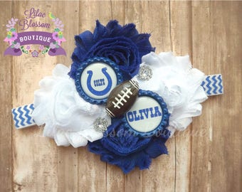 Indianapolis Colts Personalized Baby Headband, Colts Baby Girl, Colts Girl Bow, Colts Girl Shirt, Colts Football Bow,Colts Football Headband