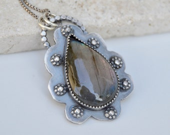Sterling Labradorite Necklace. Handmade . Fine Silver . Rustic . Earthy . Boho .