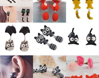 New 100% Handmade Polymer Clay Cute Cat animal Stud Earrings Ear Stud jewelry fox plant shark cat racoon earrings christmas gift 1