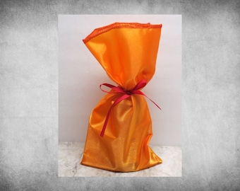 """Crystal Satin Gift Sack -  Orange 6x12"""" bag. Great for weddings, party favors, and decorative  gift wrap! SAK-112"""
