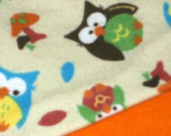 Flannel Orange Owls Baby Blanket
