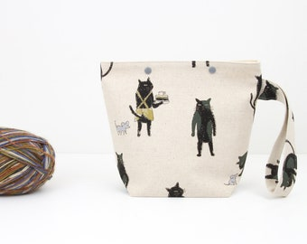 Cat project bag, cute sock knitting bag with snaps, cat and mouse crochet storage
