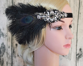 LISALI 1920s Flapper Headbands Great Gatsby Headpiece with Black Feather Jewel Hair Accessories