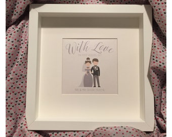 Wedding Gift Frame With Love - Bride & Groom - Personalised