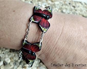 Red and Yellow Butterfly bracelet made of polymer clay