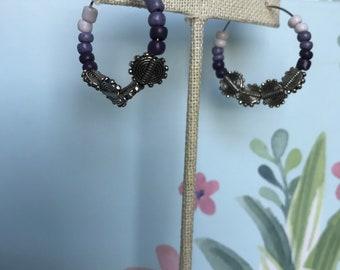 Handmade beaded hoop earrings