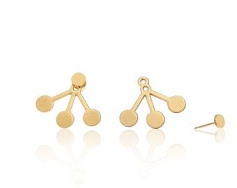 3 Balls Earrings, Gold Ear Jacket, Gold Jackets Earrings, Double Sided Earrings, Front Back Earrings, Boho Earrings, Everyday Stud Earrings
