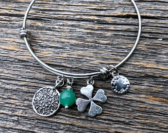 Adjustable Stainless Steel Charm Bangle With Green Gemstone and Four Leaf Clover Charm