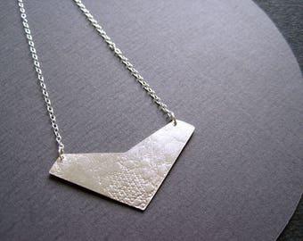 Solid silver lace textured geometric chevron pendant on fine silver chain