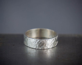 Rustic Mens Ring - Unique Mens Ring - Recycled Silver Minimalist Ring Band - Textured Mens Ring - Cool Mens Ring - Gift For Him