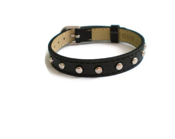 Studded Black Leather Bracelet  -  Silver Studded Black Wristband - 10mm Black Leather Wristband