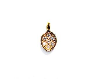 SALE Gold Vermeil CZ Small Drop Charm 1 pc 6mm CZ Cubic Zirconia Charm