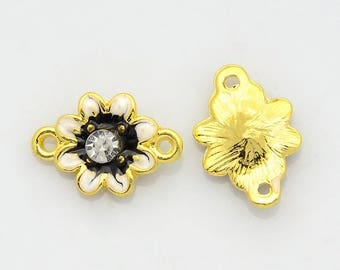 1 connector flower black white 2 alloy rhinestone enamel gold 17 X 12 X 4 mm links