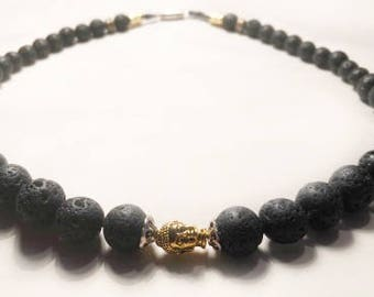 Black Lava Rock and Gold plated Buddha Necklace
