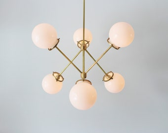 etsy lighting. Modern Brass Chandelier, 6 White Glass Globes, Industrial Art Lighting, BootsNGus Lighting And Etsy O