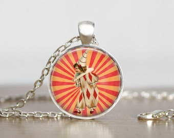 Young Circus Clown Art Necklace, Circus Clown Art Pendant Jewelry