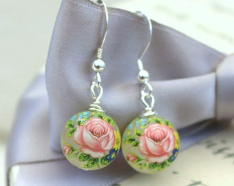 Flower Bead earrings Pink flower Japanese Tensha with Sterling Silver