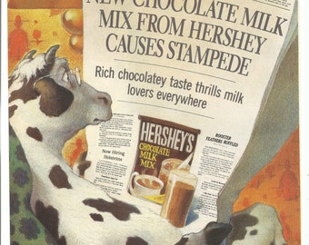 1989 Advertisement Hershey's Chocolate Milk Mix Powder Cow Reading Newspaper Daily Stampede Illustrated Kitchen Diner Wall Art Decor