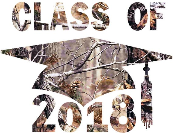 Class of 2018 Camo Graduation Cap - Edible Cake and Cupcake Topper For Birthday's and Parties! - D22811