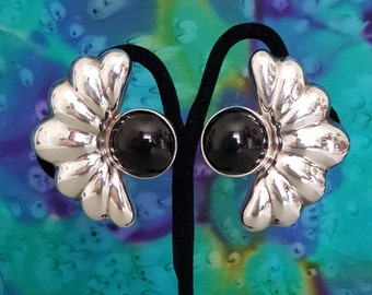 Large Clip Earrings - Expressive Glossy Black Onyx Gemstones Set in Shiny Sterling Silver