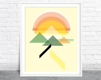 Abstract Art, Mountain Design, Shapes Art, Mid-Century Modern