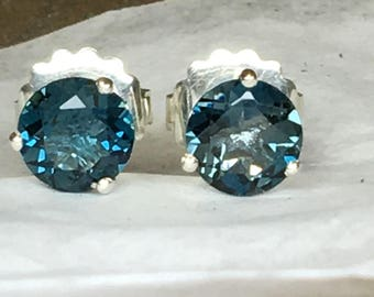 Blue Topaz Earrings, London Blue Topaz Earrings, London Blue Topaz Stud Earrings, London Blue Topaz,Sterling Silver, White Gold, Yellow Gold