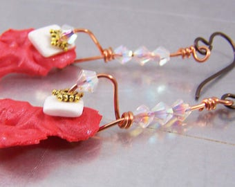 Orange Polymer Clay Shard Earrings