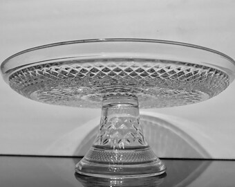 """Wexford by Anchor Hocking 11"""" Pedestal Cake Stand,Clear Criss Cross Pattern Glass,Vintage Glass Cake Stand"""