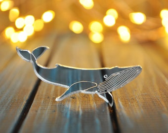 Whale pin brooch - mirror whale brooch, mirror silver gold whale brooch, mirror whale brooch, mirror acrylic whale pin - made to order