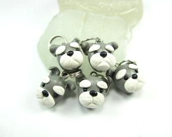 Schnauzer Stitch markers Set of 5, Schnauzer gifts, knitting accessories, knit, animal charm, gift for dog lover for knitters, polymer clay