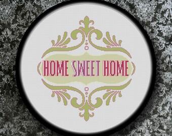 Gráfico PDF Punto de Cruz, Home Sweet Home 3, Pfd descargable