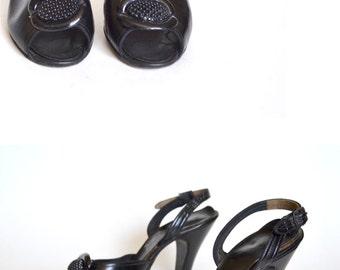 1940s Shoes / Black 40s shoes,  1940s Shoes /  40s Pump / 40s Heel /  6 Shoe / Women Shoe Heel Pump / Vintage Accessories Shoe