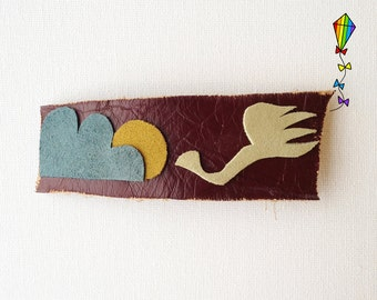Large Hair Clip made from Reclaimed Leather - Swan Design